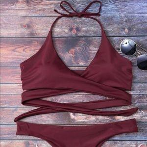 Other - 💎 Triangle Maroon Bikini Cheeky Straps M